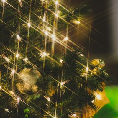 クリスマスツリーの電飾キラキラの写真