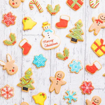 「可愛いキャラクターのクリスマスアイシングクッキー」の写真素材