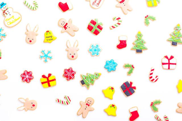可愛いクリスマス用アイシングクッキーの写真
