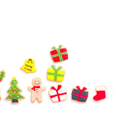 クリスマスにプレゼント沢山もらったボーイ(アイシングクッキー)の写真