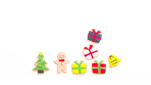 「メリークリスマス!プレゼント盛りだくさん(アイシングクッキー)」のフリー写真素材
