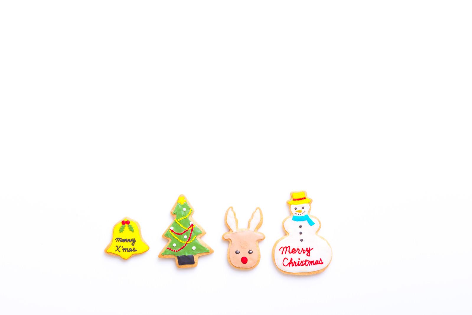 「クリスマス用の焼き菓子(アイシングクッキー)クリスマス用の焼き菓子(アイシングクッキー)」のフリー写真素材を拡大