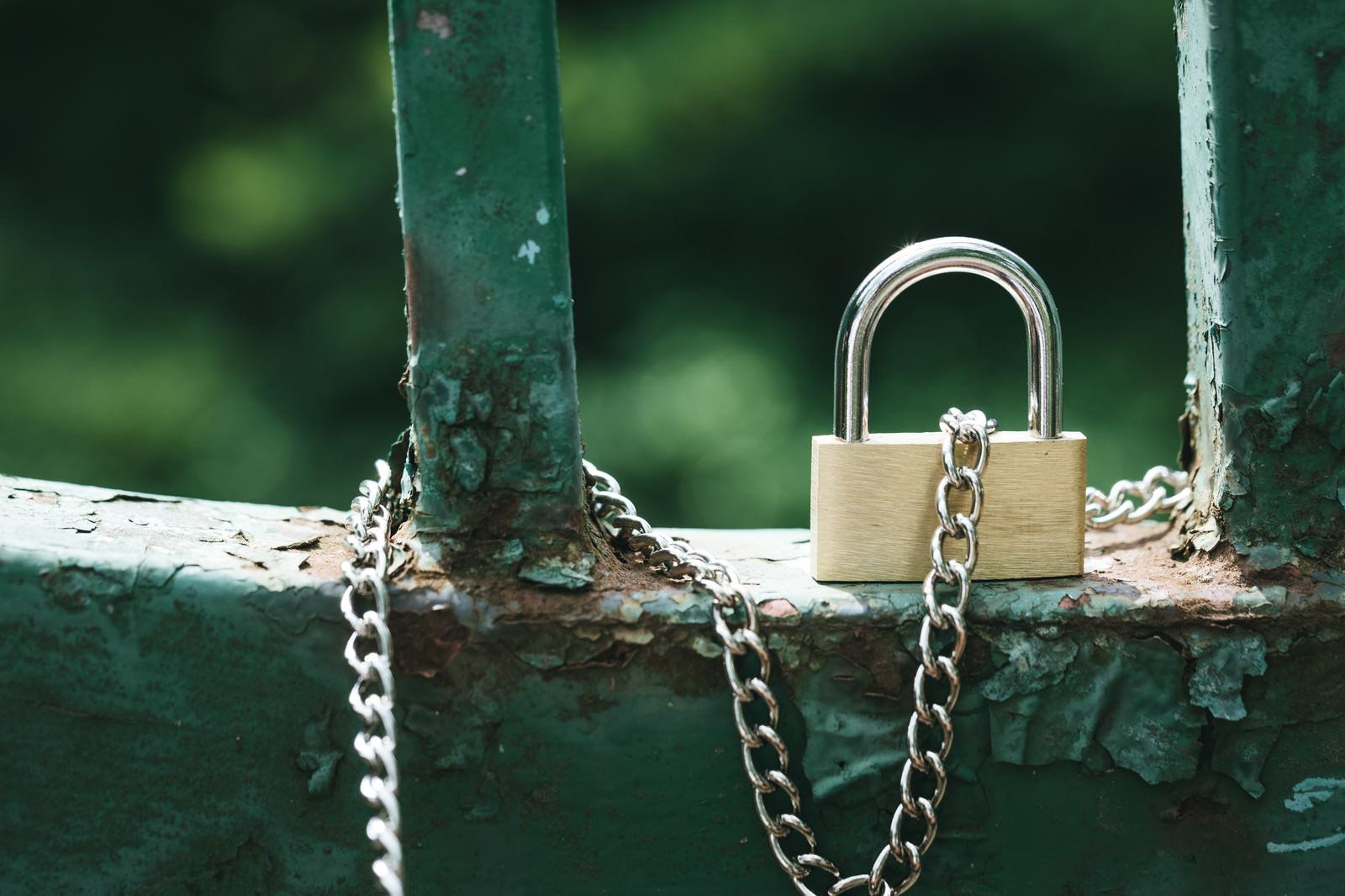 「柵と繋がる南京錠」の写真