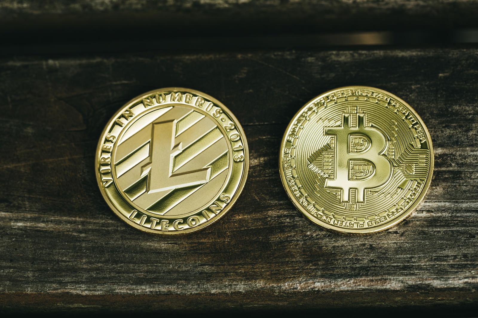 「卓上のライトコインとビットコイン(仮想通貨)」の写真