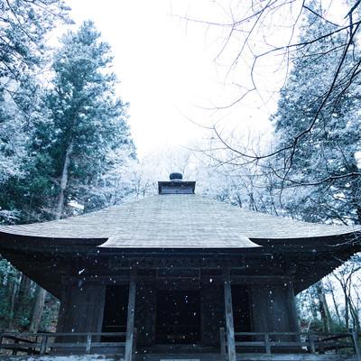 静かに降り続ける雪と中尊寺経蔵の写真