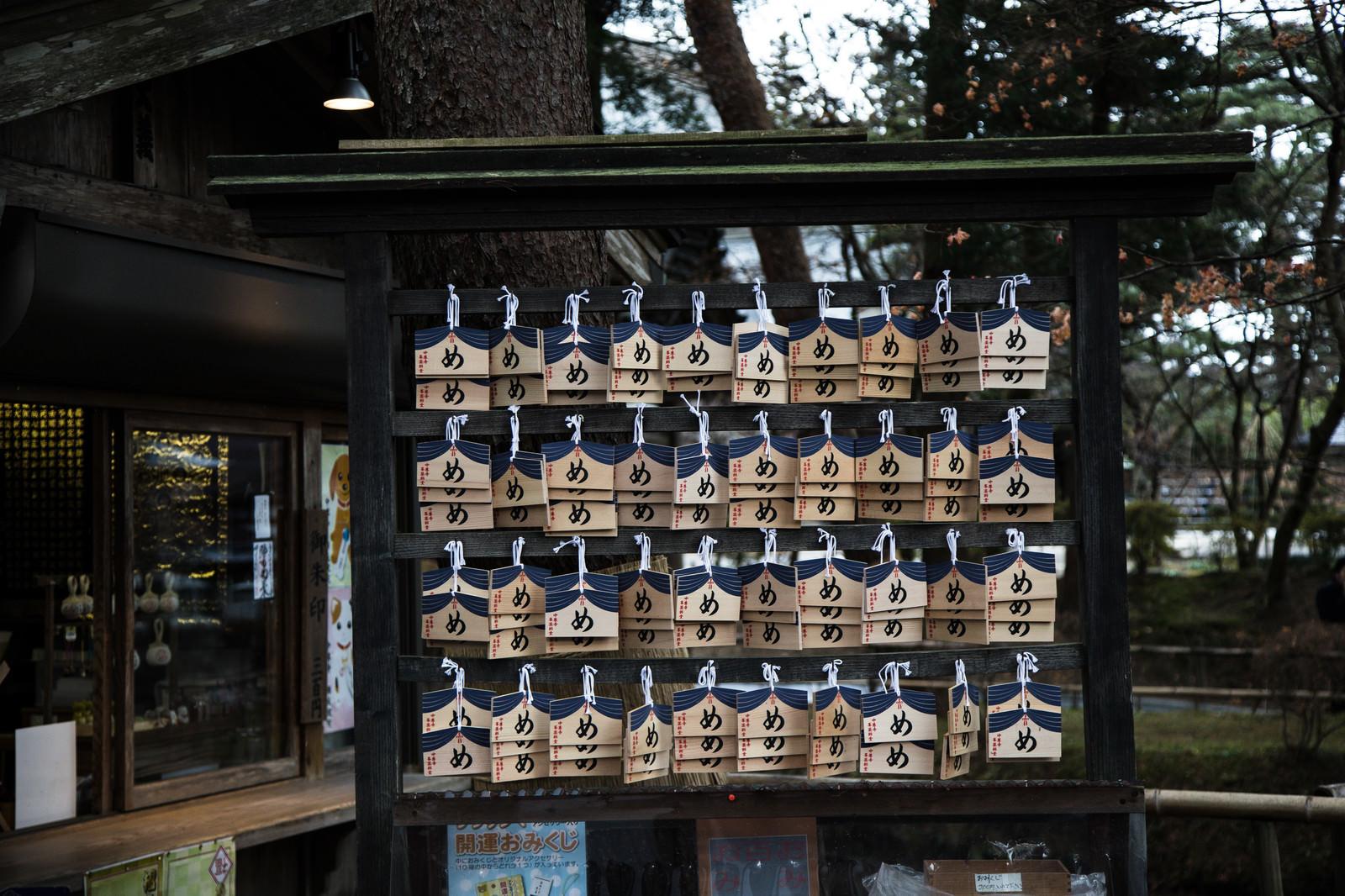 「中尊寺峯薬師堂の「め」の絵馬」の写真