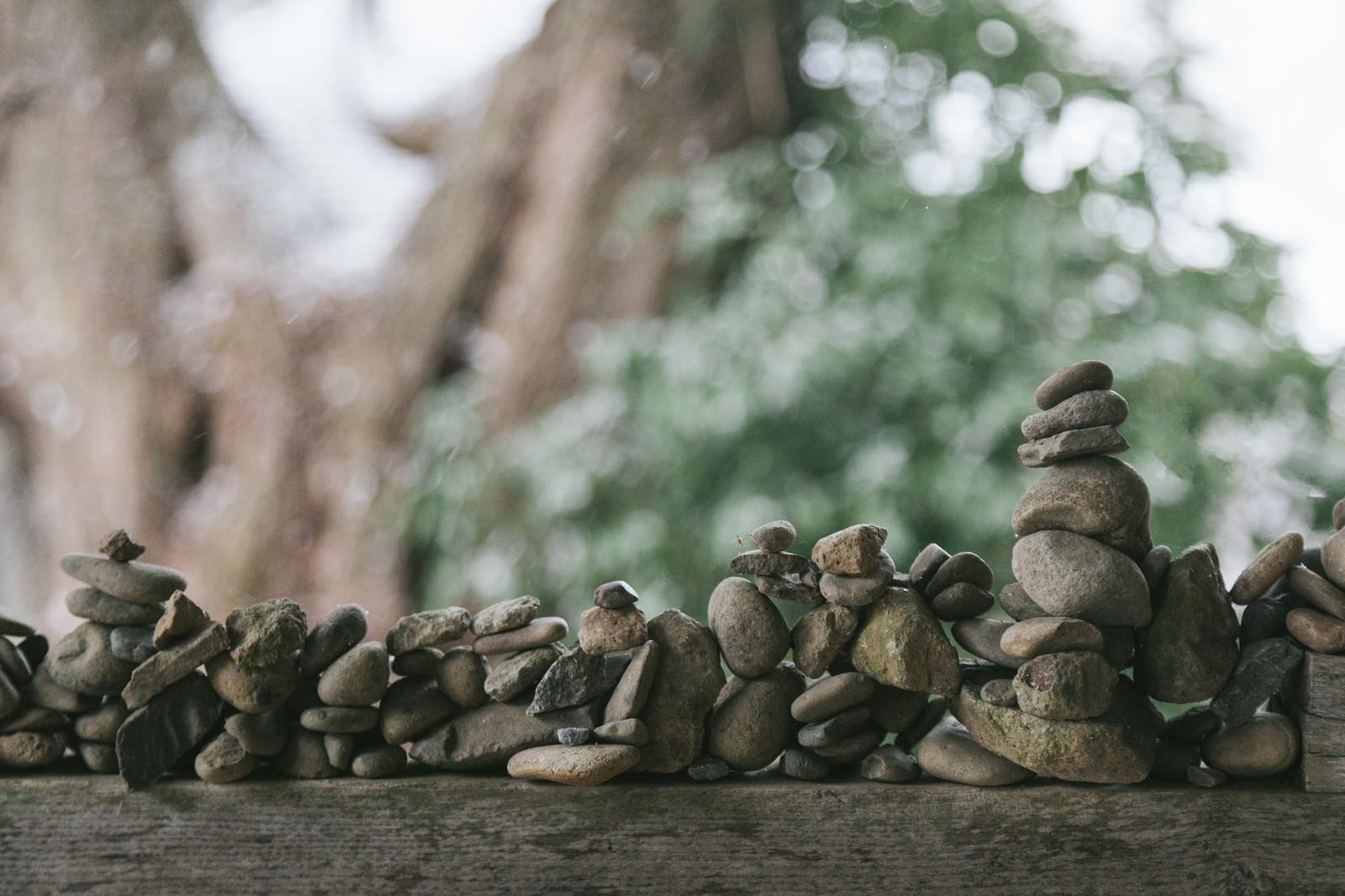 「中尊寺 白山神社能舞台の門にあった積石」の写真