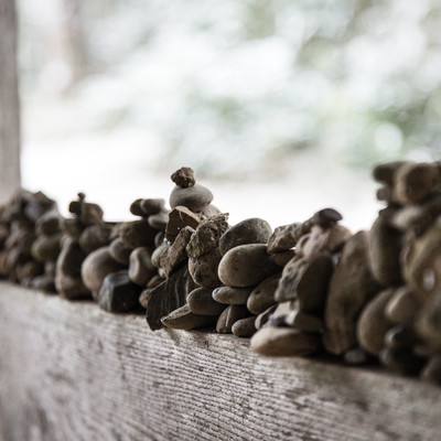 中尊寺の積石の写真