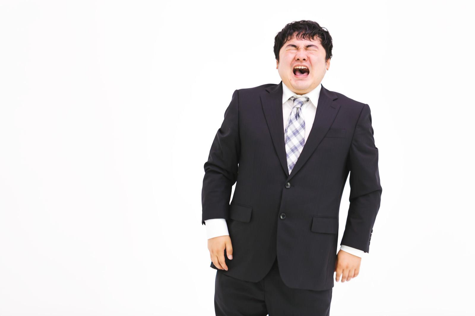 「泣きじゃくる弱虫会社員」の写真[モデル:段田隼人]