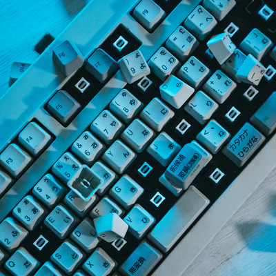 「破壊されたキーボード」の写真素材