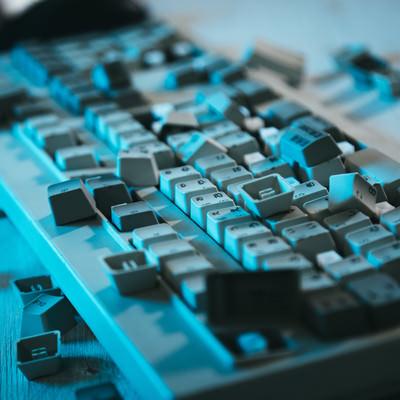 「無残なキーボード」の写真素材