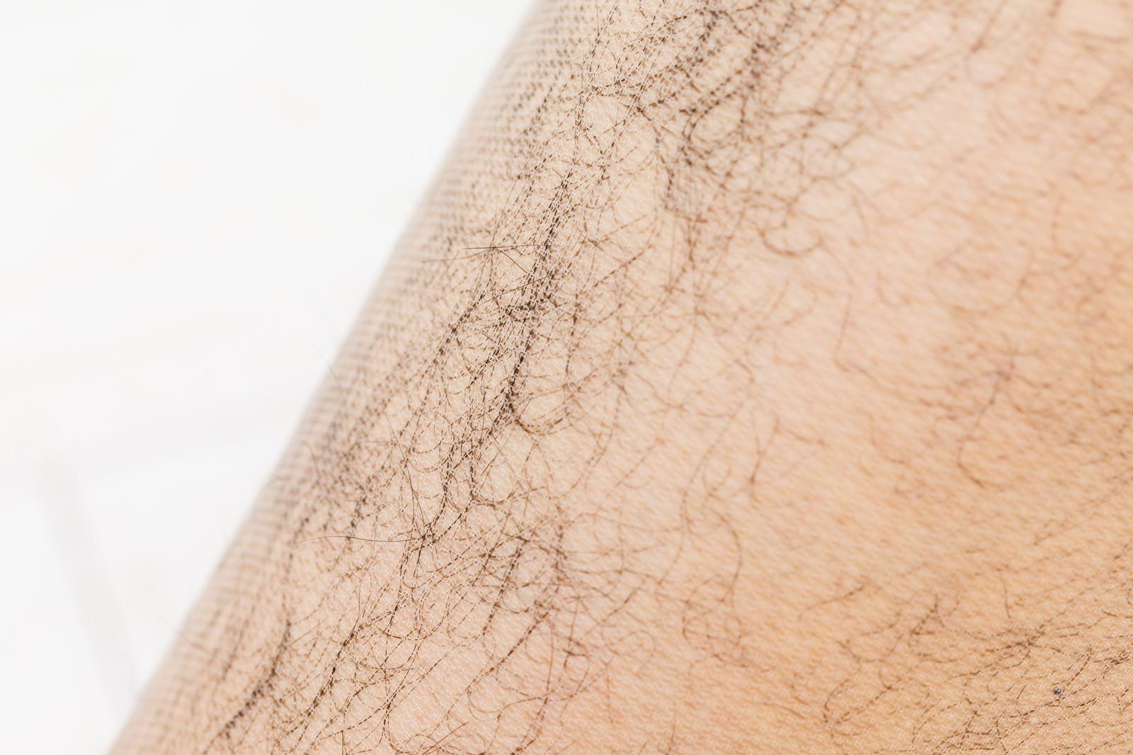 「ストッキングを飛び出すトップオブすね毛」の写真