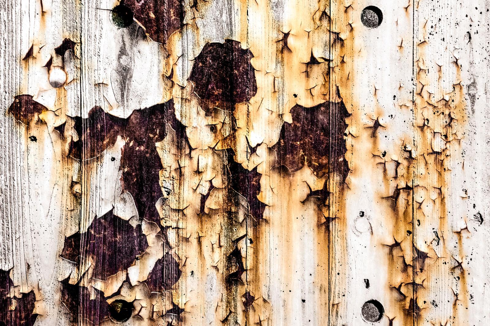 「木目と錆のテクスチャ(フォトモンタージュ)」の写真