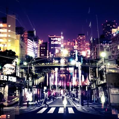 眠らない街(フォトモンタージュ)の写真