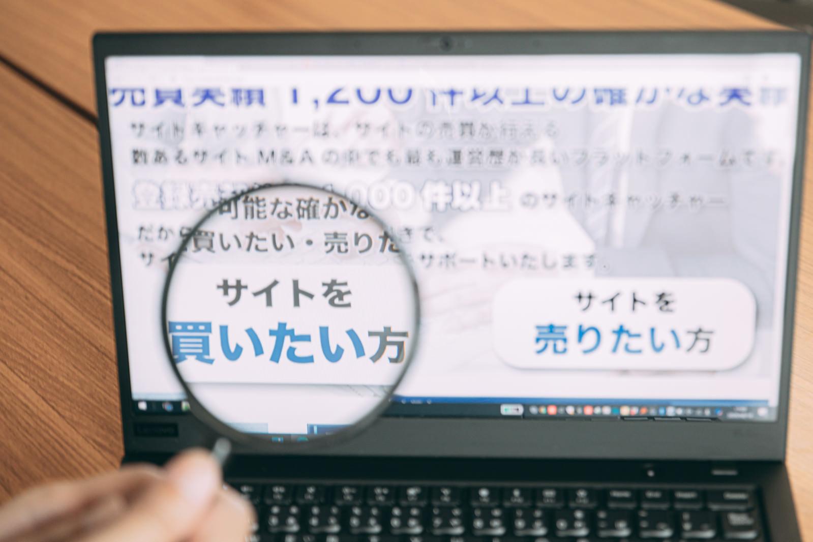 「ウェブサイトを鑑定」の写真