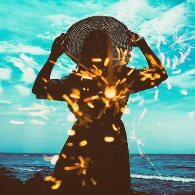 「麦わら女子との想い出(フォトモンタージュ)」の写真素材