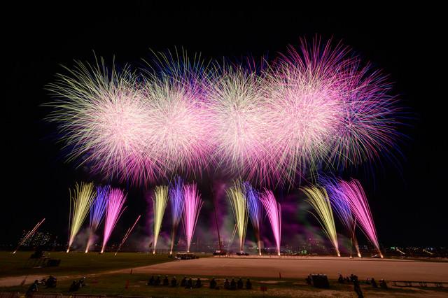 江戸川の河川敷で打ち上げられる花火の様子の写真