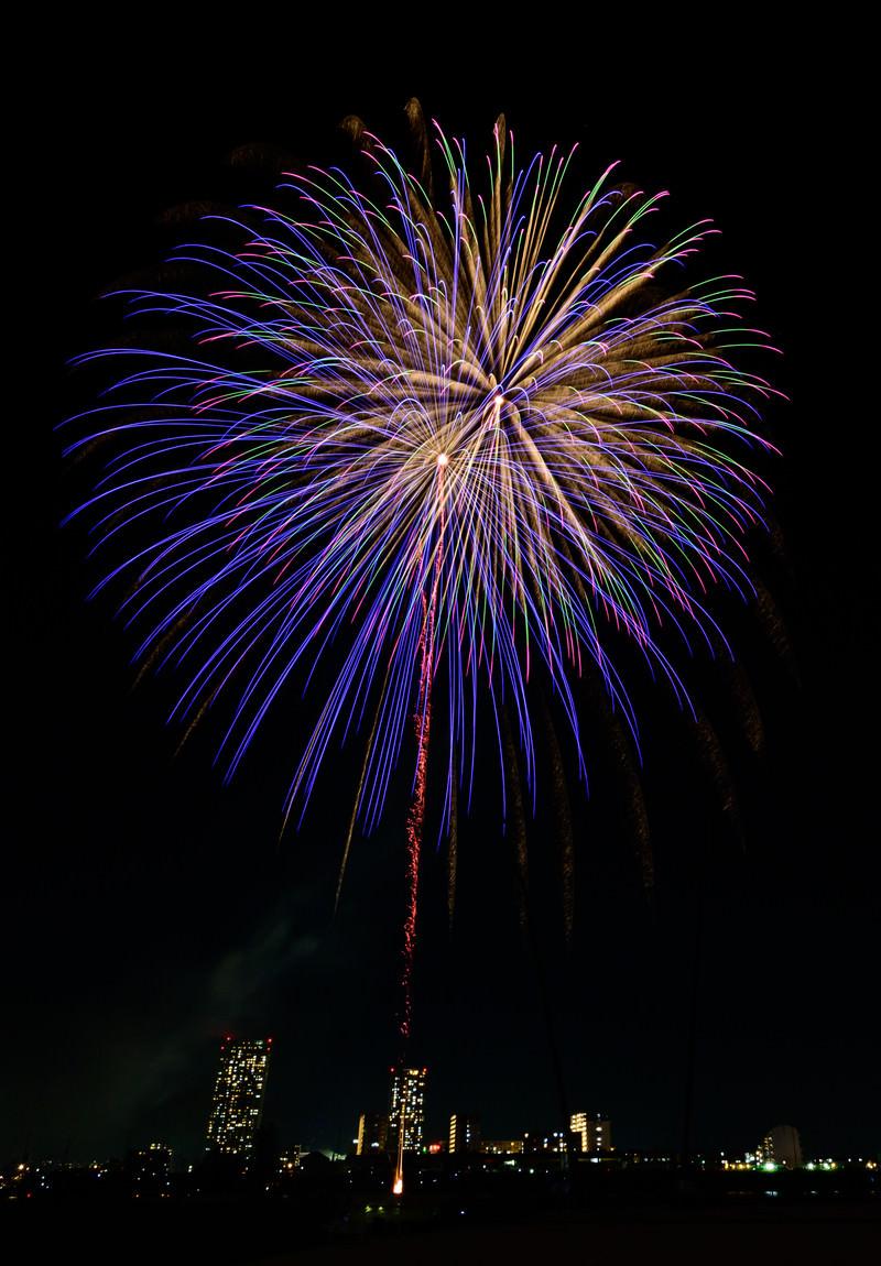 「丸く大きく咲く花火」の写真