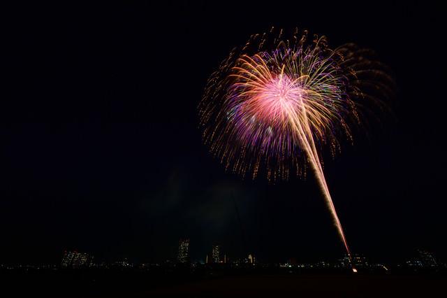 ヒュルルルル と打ち上がる花火の写真