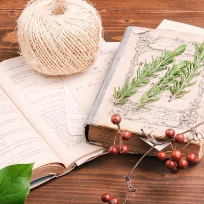レシピが書かれた洋書の上に並べられる材料の写真