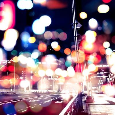 「光あふれる街並み(フォトモンタージュ)」の写真素材