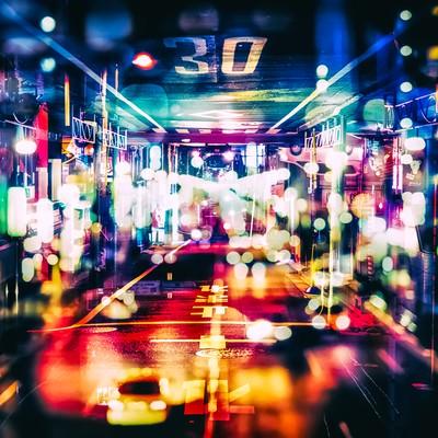 「輝く夜(フォトモンタージュ)」の写真素材