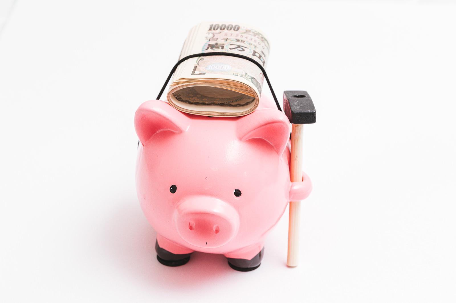 頭の上に一万円札を乗せているブタの貯金箱の写真
