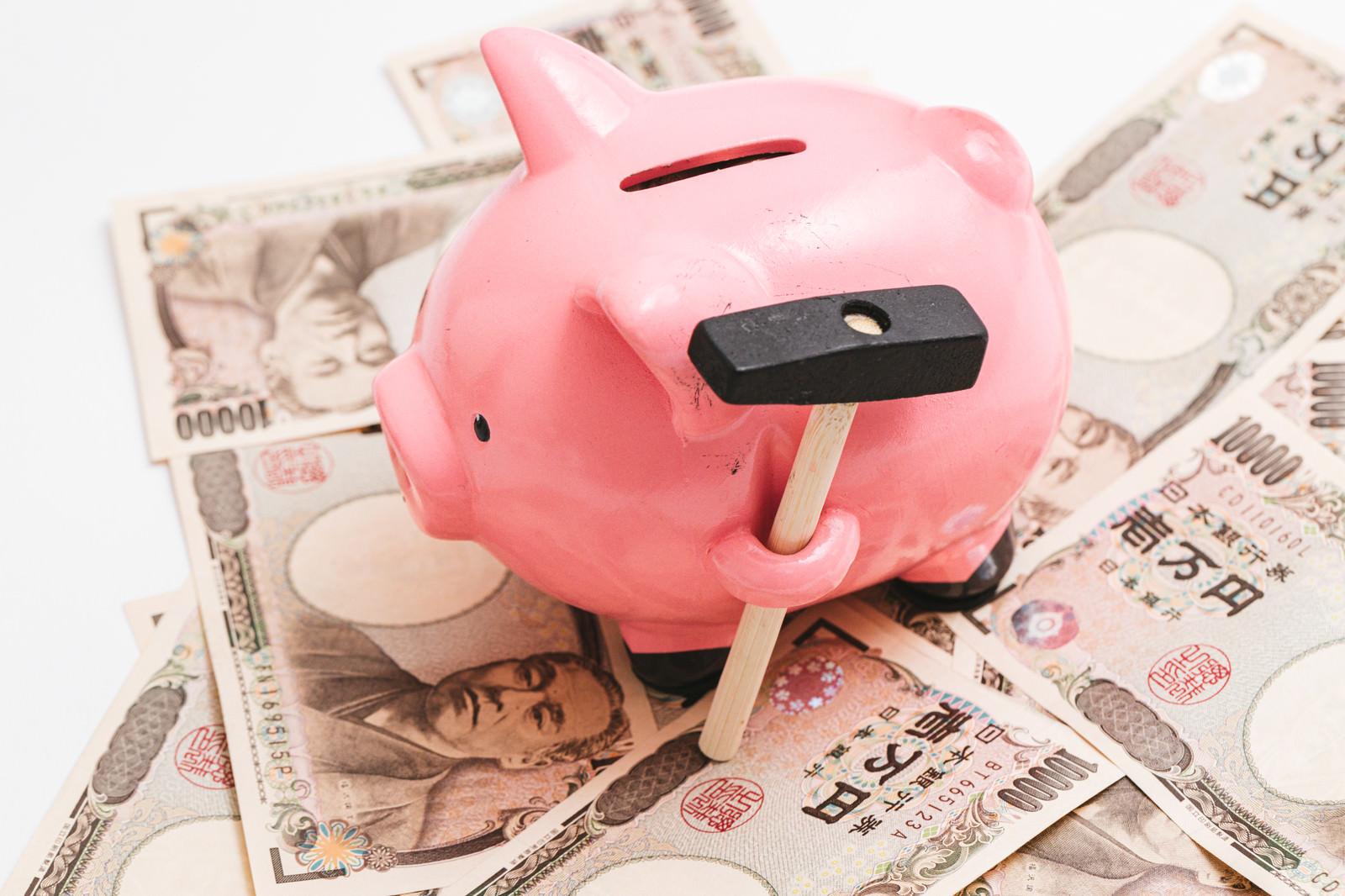 「豚の貯金箱と1万円札」の写真
