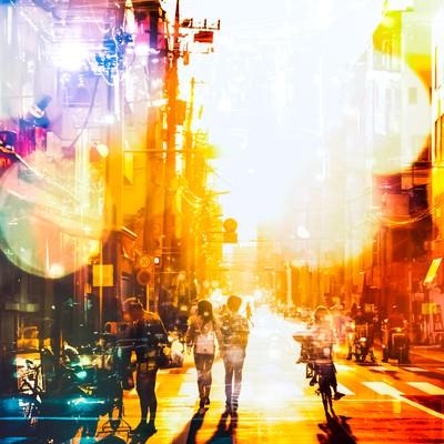 「下町の明るい未来(フォトモンタージュ)」の写真素材