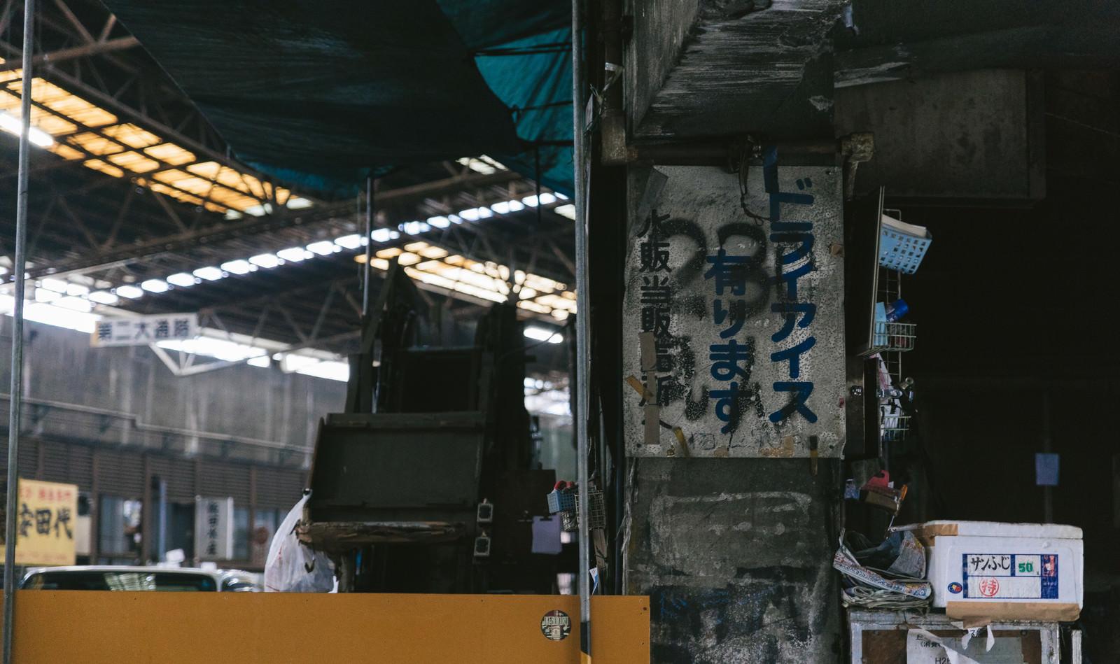「築地市場内のぼろぼろの看板」の写真