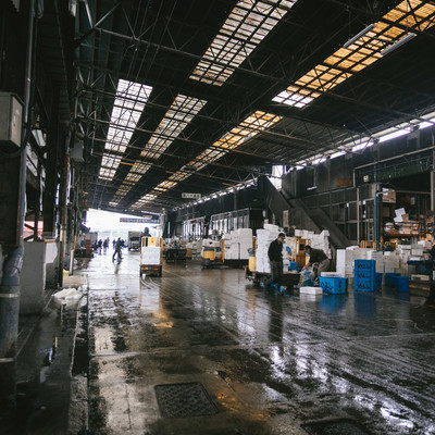 築地市場内(水産物部仲卸売場前)のフリー素材