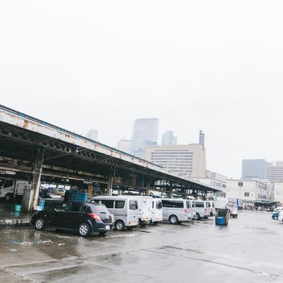 「築地市場の駐車場の様子」の写真素材