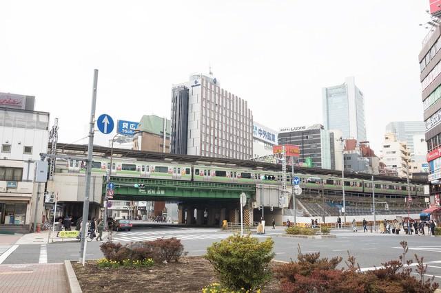 五反田駅前と山手線の写真
