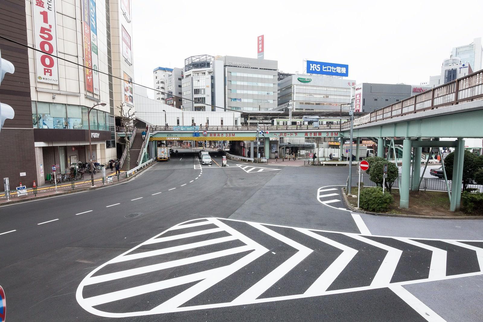 「五反田駅前東口の歩道橋」の写真