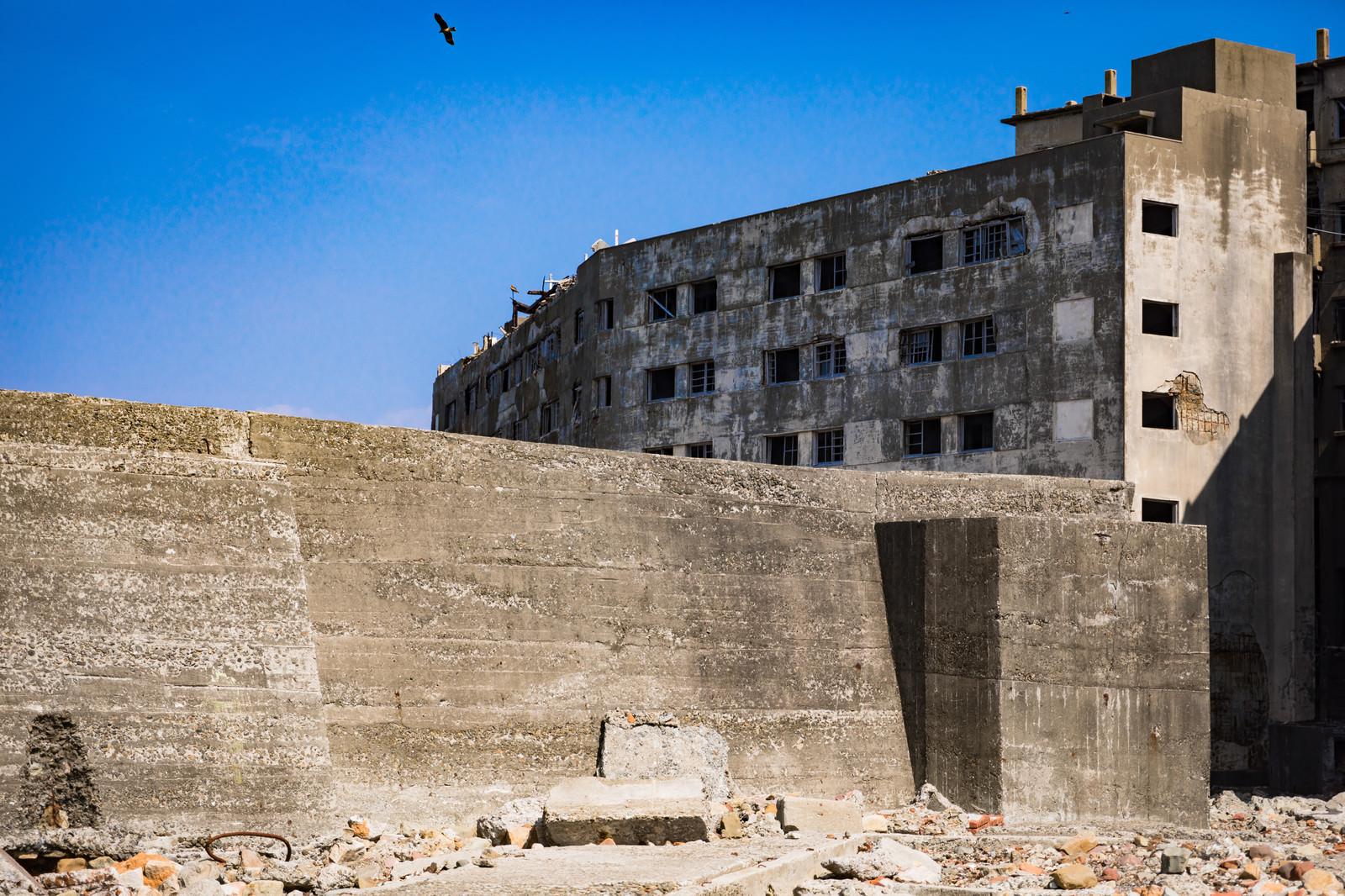「25号棟日給社宅と高い防波堤(軍艦島)」の写真