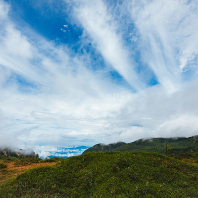 「雨上がりの毛無峠からの青空」の写真素材