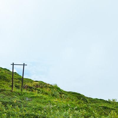 「斜面に残った何かの柵」の写真素材
