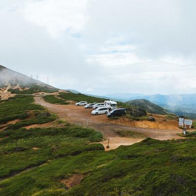 「毛無峠の頂上付近駐車場」の写真素材