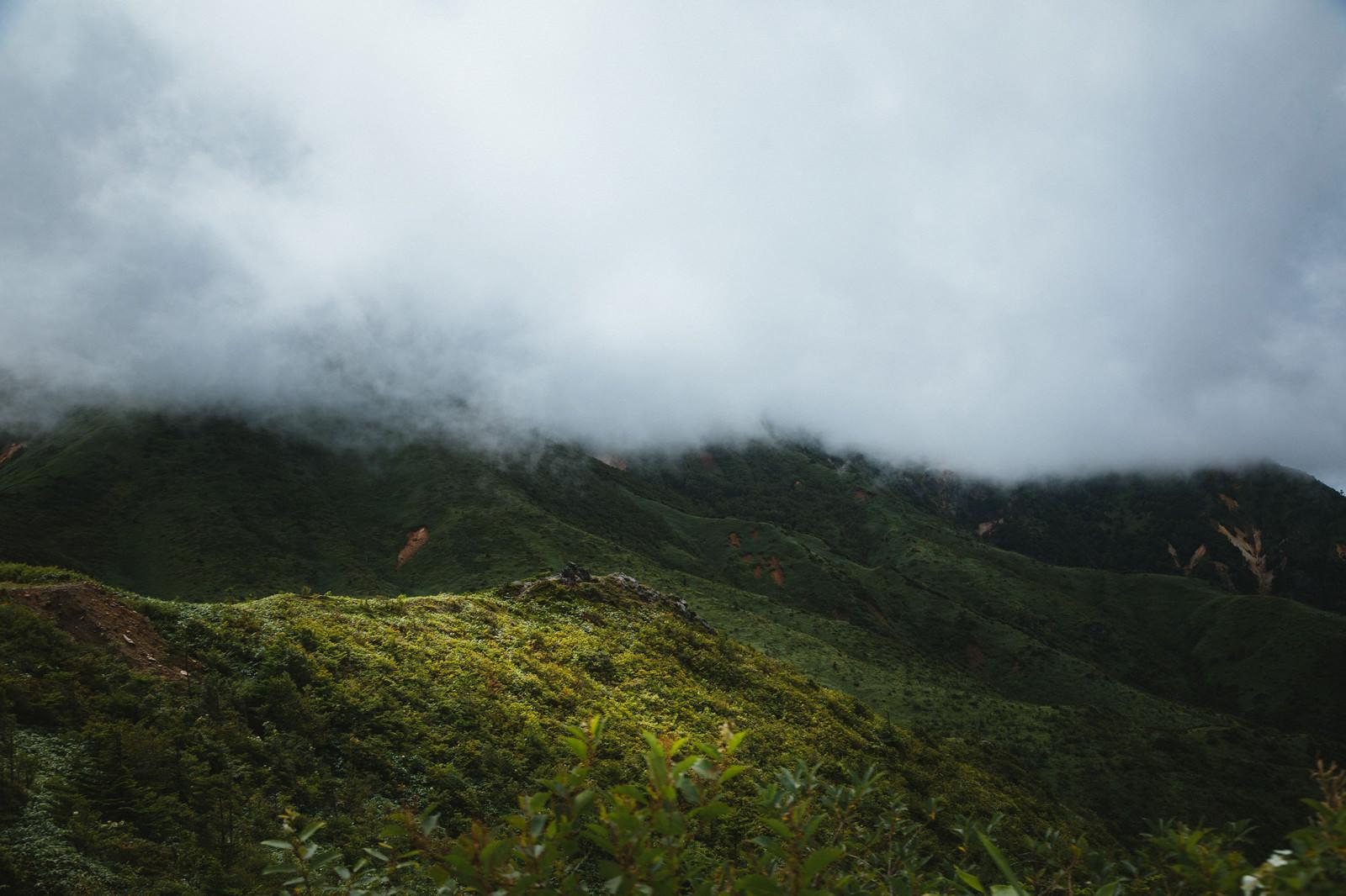 「雲で覆われた山々」の写真