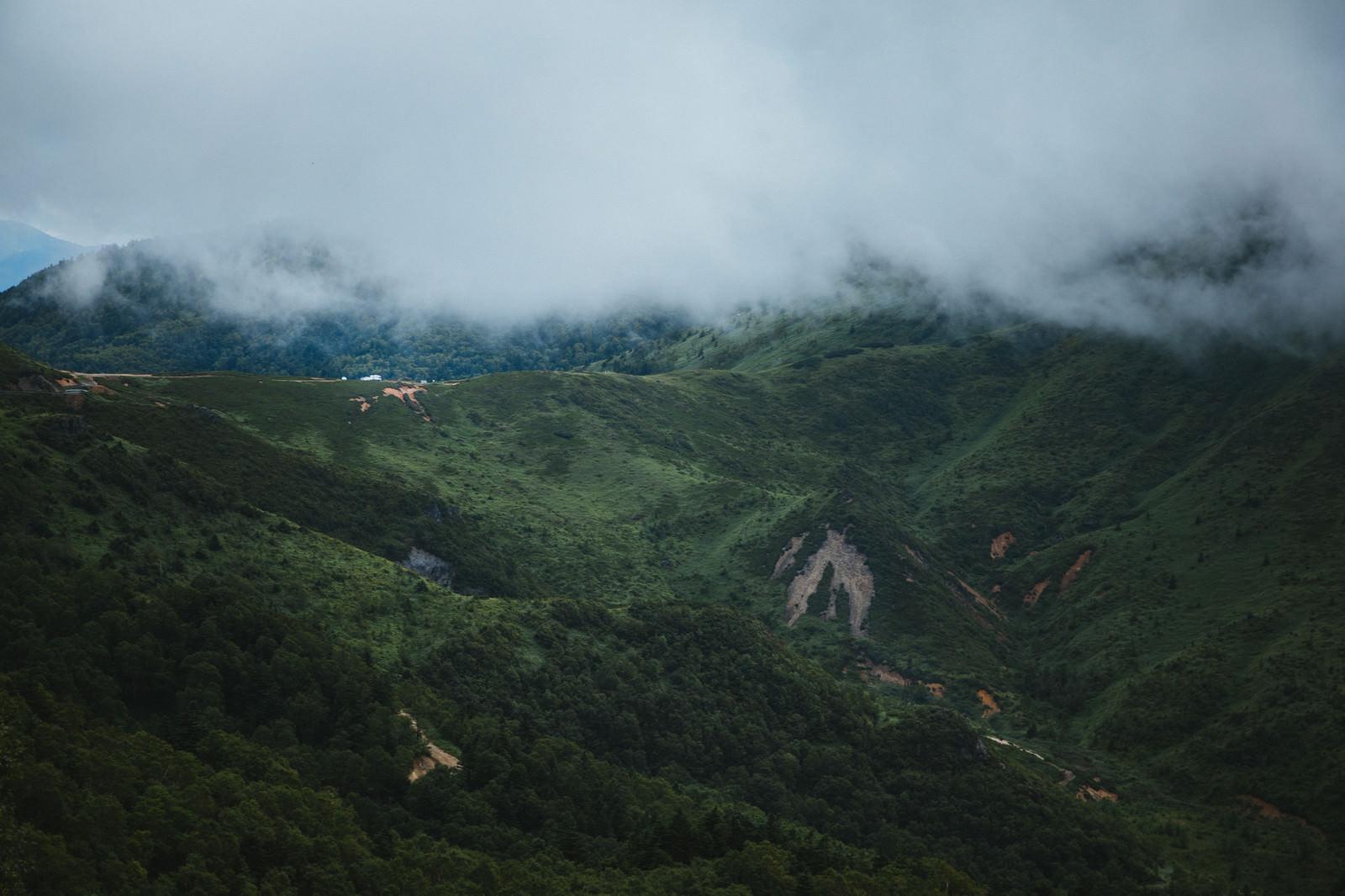「強風が吹き抜ける毛無峠の谷」の写真