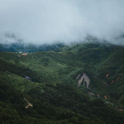 強風が吹き抜ける毛無峠の谷の写真
