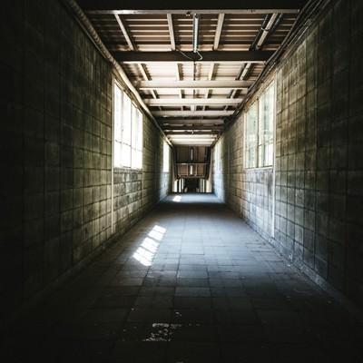 ブロック塀で覆われた通路(土合駅)の写真