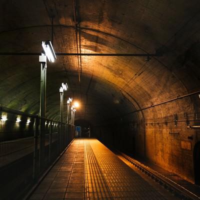 日本一のモグラ駅(土合駅)の地下ホームの写真