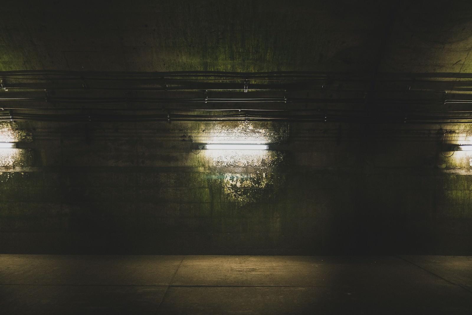 「地下へと繋がる通路の電灯(土合駅)」の写真