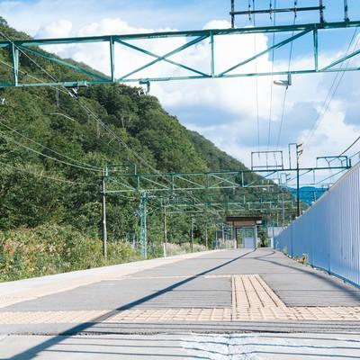 「土合駅の上りホーム(地上)」の写真素材
