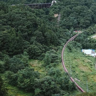 「丸岩大橋から撮影した八ッ場ダム工事中(パノラマ)」の写真素材