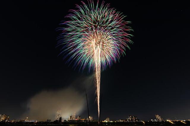 風が吹いて少しだけ光跡が流れる打上花火の写真