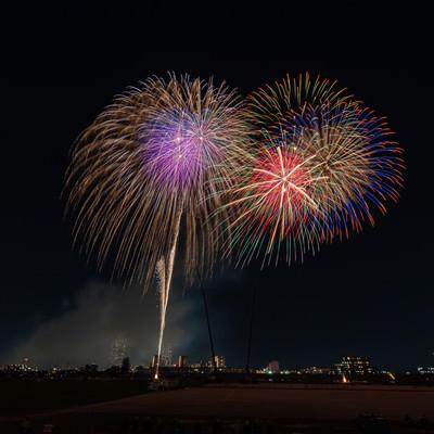 河川敷から打ち上がる花火の写真
