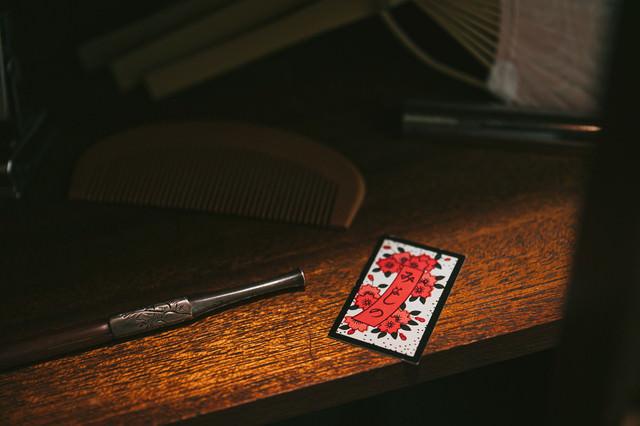 桜の札「みよしの」(花札)の写真