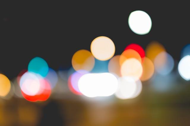 街の灯り(ボケ)の写真